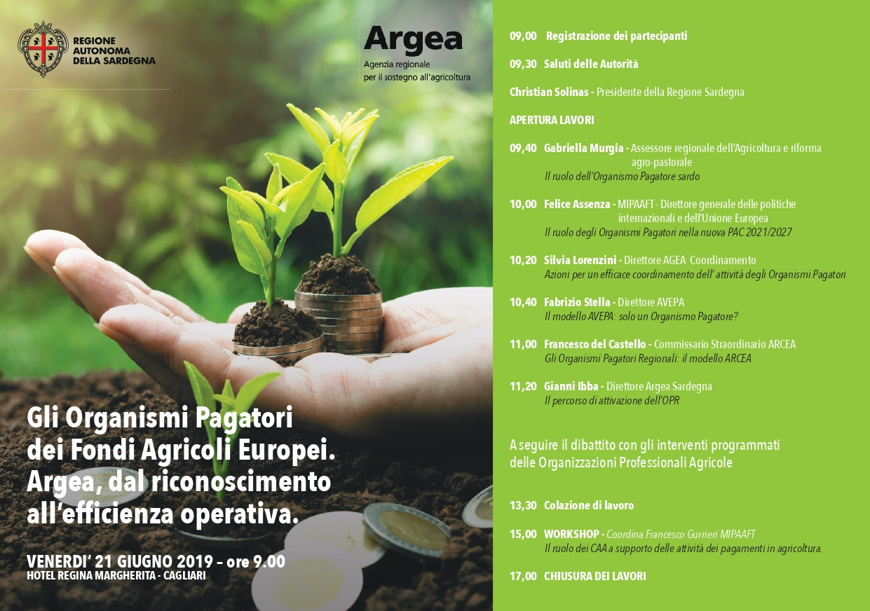 """A Cagliari la tavola rotonda """"Gli organismi pagatori dei fondi agricoli europei. Argea, dal riconoscimento all'efficienza operativa"""""""